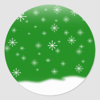 SNOWFLAKES GREEN CLASSIC ROUND STICKER