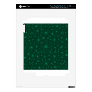 Snowflakes – Green on Dark Green Decal For iPad 3