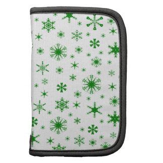 Snowflakes – Green on White Folio Planner