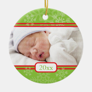 Snowflakes: Green Double-Sided Ceramic Round Christmas Ornament