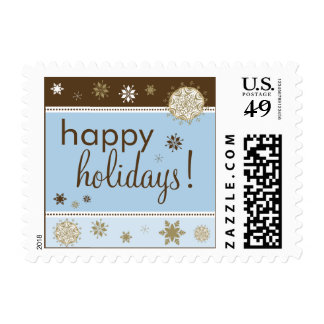 Snowflakes Happy Holiday Postage (brown/blue)