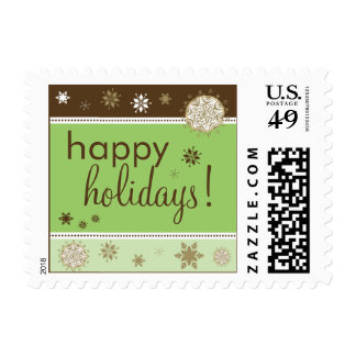 Snowflakes Happy Holiday Postage (brown/green)