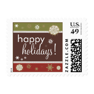 Snowflakes Happy Holiday Postage (brown/olive/red)