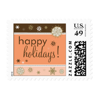 Snowflakes Happy Holiday Postage (brown/peach)