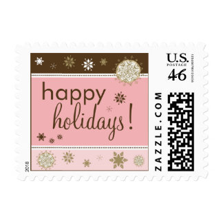 Snowflakes Happy Holiday Postage (brown/pink)
