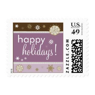Snowflakes Happy Holiday Postage (brown/purple)