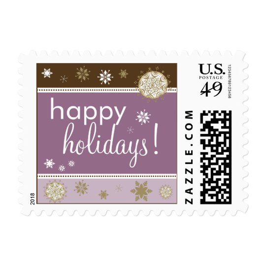 Snowflakes Happy Holiday Postage (brown/purple)