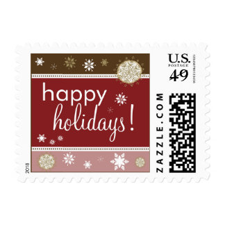 Snowflakes Happy Holiday Postage (brown/red)