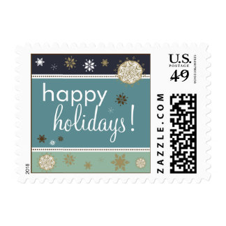 Snowflakes Happy Holiday Postage (navy blue)