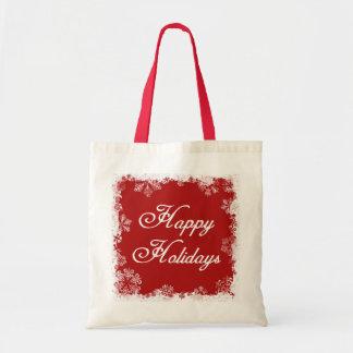 Snowflakes Happy Holidays Tote Bag