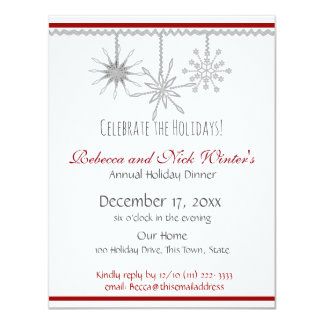 Dinner party invitations announcements zazzle snowflakes holiday dinner party card stopboris Image collections