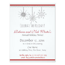 Snowflakes Holiday Dinner Party Invitation