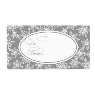 Snowflakes Holiday Gift Tag Shipping Label