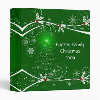 "Snowflakes Holly Tree Photo Album - 1"" 3 Ring Binder"