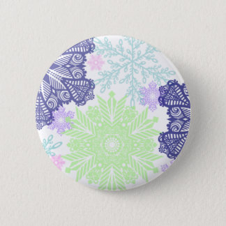 Snowflakes in blue and mint green button