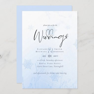 Snowflakes in December Winter Wedding Budget Invitation