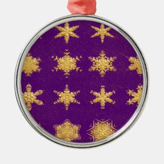 Snowflakes in Gold - Round Premium Ornament