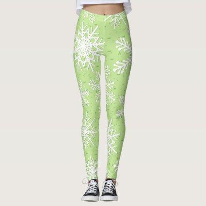 Snowflakes in green leggings