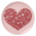 Snowflakes in Heart Dinner Plate