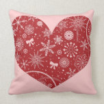 Snowflakes in Heart Throw Pillow