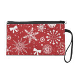 Snowflakes in Heart Wristlet Clutches