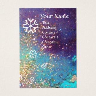 SNOWFLAKES IN SILVER SPARKLES BUSINESS CARD