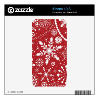 Snowflakes in Stocking iPhone 4 Skins