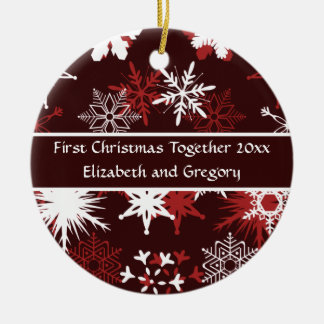 Snowflakes in wine and pink Merry Christmas Double-Sided Ceramic Round Christmas Ornament