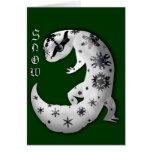 Snowflakes Leopard Gecko Card