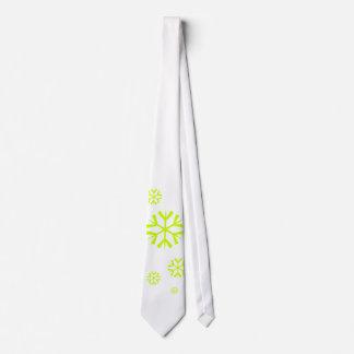 Snowflakes, lime green neck tie