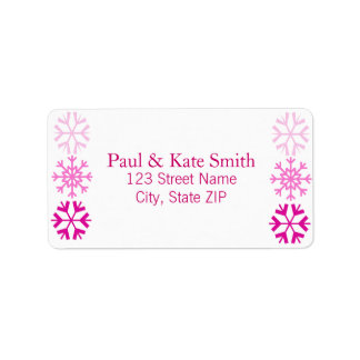Snowflakes (magenta) personalized address label