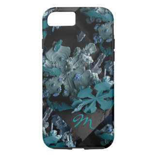 Snowflakes magnified monogrammed iPhone 8/7 case