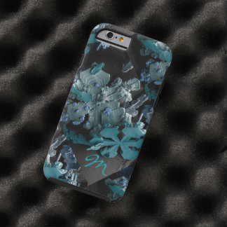 Snowflakes magnified monogrammed tough iPhone 6 case