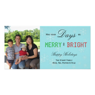 Snowflakes Merry And Bright Photo Card Template