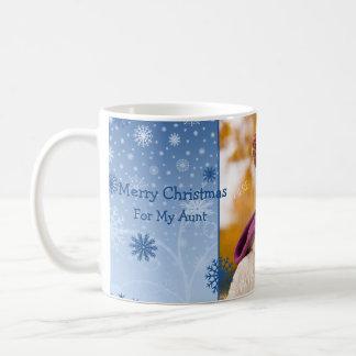 Snowflakes Merry Christmas Aunt Photo Mug
