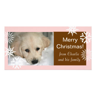 Snowflakes Merry Christmas Dog Photo Cards