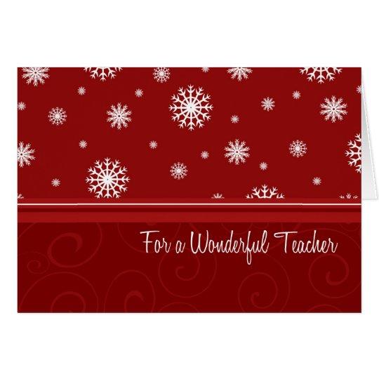 Snowflakes Merry Christmas for Teacher Card