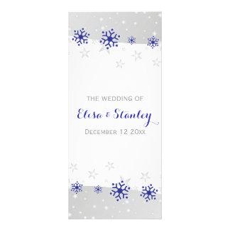 Snowflakes modern blue grey winter wedding program