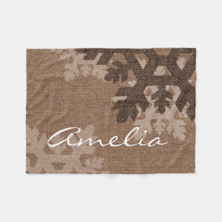 Snowflakes Monogram Faux Burlap Chic Holiday Fleece Blanket