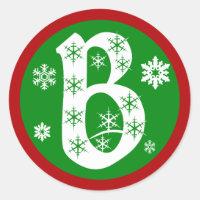 Snowflakes Monogram Letter B Classic Round Sticker