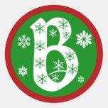 Snowflakes Monogram Letter B Round Stickers