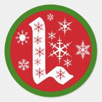 Snowflakes Monogram Letter L Classic Round Sticker