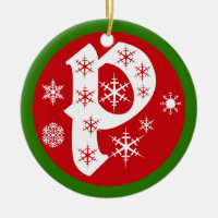 Snowflakes Monogram Letter P Ceramic Ornament