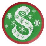 Snowflakes Monogram Letter S Melamine Plate