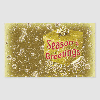 Snowflakes n gifts Christmas gold Rectangular Sticker