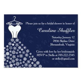 Snowflakes Navy Blue Wedding Dress Bridal Shower 4.5x6.25 Paper Invitation Card