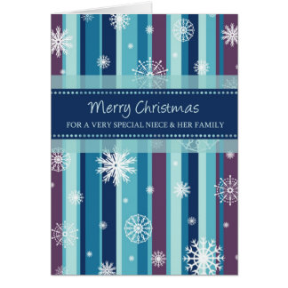 Snowflakes Niece & Family Merry Christmas Card