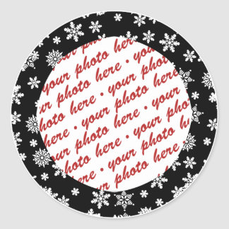 Snowflakes on Black Background Photo Frame Classic Round Sticker