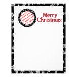 Snowflakes on Black Background Photo Frame Personalized Letterhead