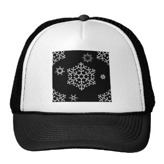 snowflakes_on_black trucker hat